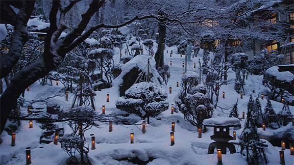 Snow-covered Candles of Mukaitaki  - 向瀧の雪見ろうそく
